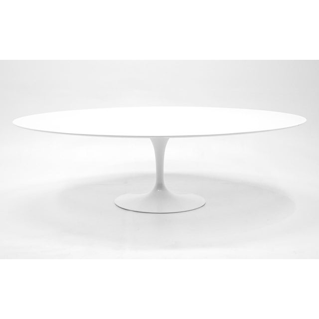 White Eero Saarinen Oval Tulip Base Dining Table, White Laminate Top For Sale - Image 8 of 8