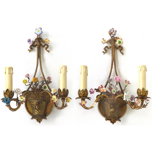 Antique French Bronze and Porcelain Floral Basket Sconces - a Pair For Sale - Image 10 of 10