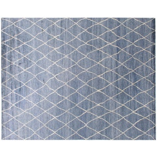 Stark Studio Rugs Contemporary Roselle Azure 65% Bamboo Silk/35% Wool - 9′11″ × 14′2″ For Sale