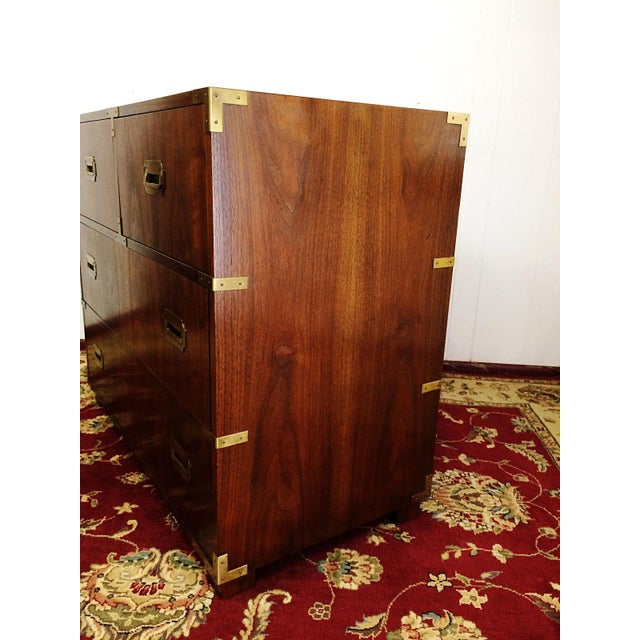 Baker Furniture Mid Century Campaign Style Dresser For Sale - Image 9 of 11