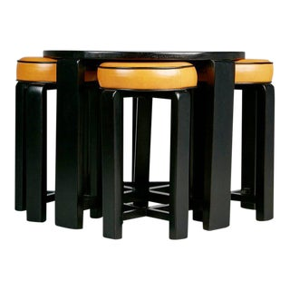 French Art Deco Cocktail Nesting Table and Four Leather Stools, circa 1940 For Sale