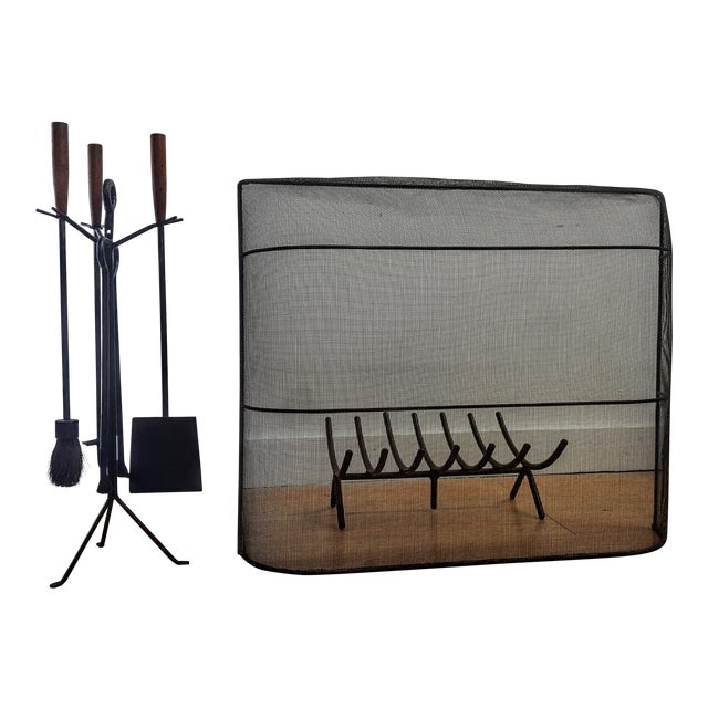 C. 1951 George Nelson Fireplace Tools, Screen & Log Holder- Set of 3 For Sale