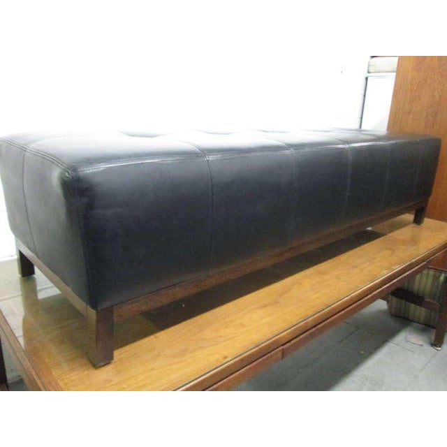 Large Scale Leather Tufted Bench For Sale - Image 4 of 5