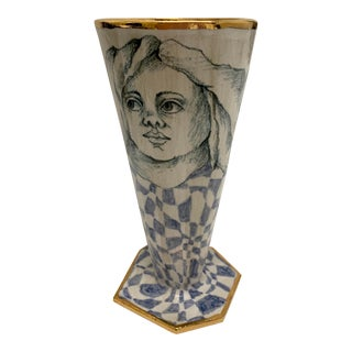 MaryLou Higgins Art Blue and White Checkered Style Vase For Sale