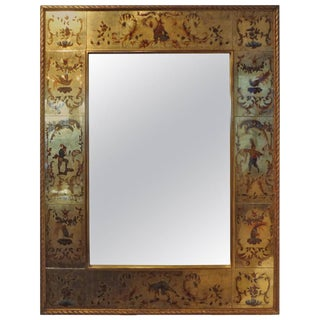 French Maison Jansen Style Eglomise Gilt Mirror For Sale