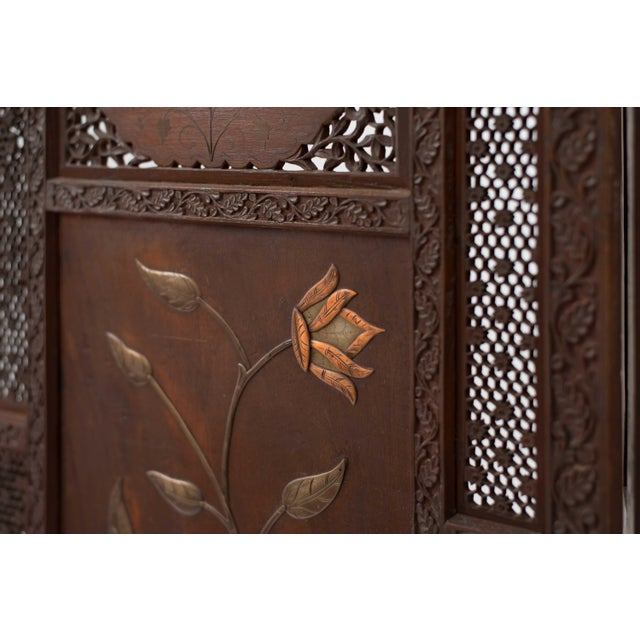 Moorish Carved Teak 3-Fold Screen For Sale - Image 4 of 8