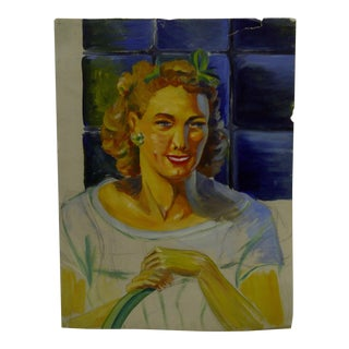 "Original ""Golden Hair Smiling"" Painting on Paper by Tom Sturges Jr."