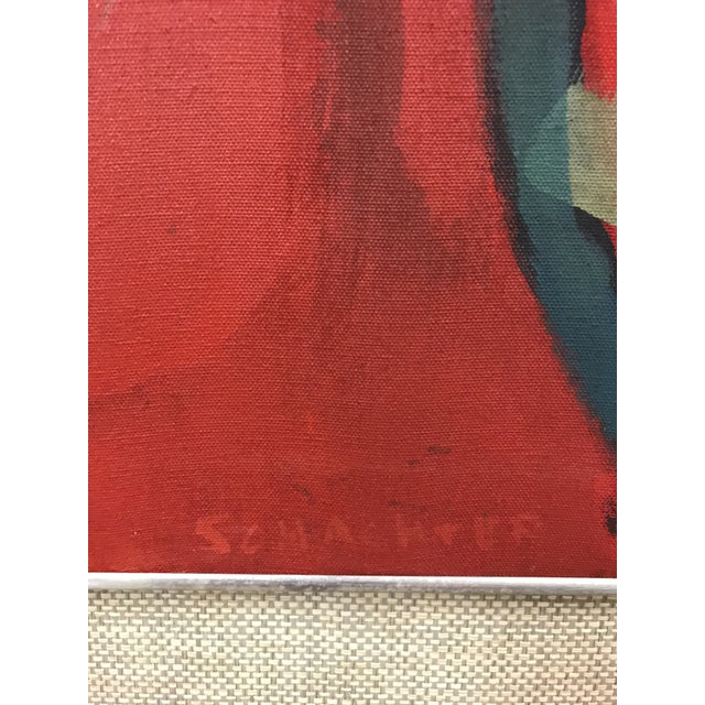Love this bold red abstract painted in the 1960's by American Artist Elsa Schachter (born 1912). Looks great to stand...