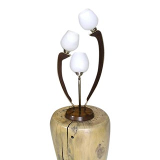 Mid-Century Modern Walnut Brass and Glass Three Shades Table Lamp For Sale