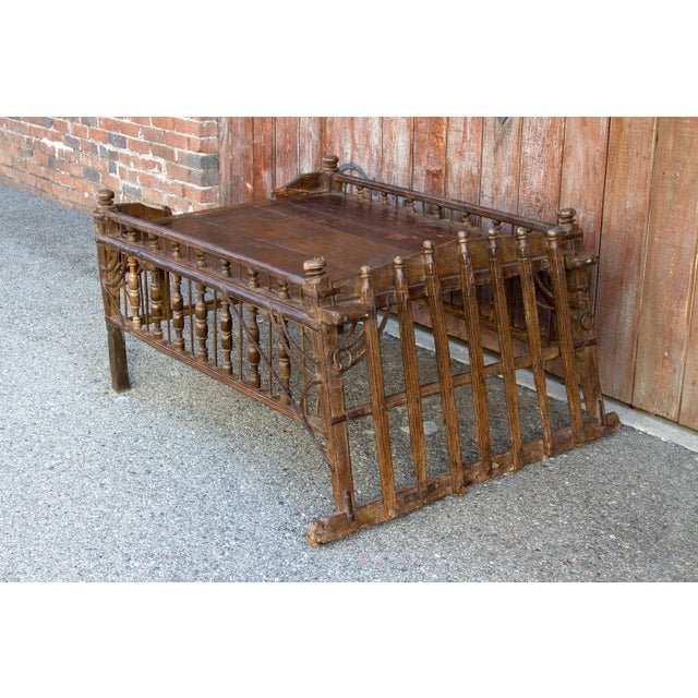 Rustic Early 20th Century Teak Jhoola Coffee Table For Sale - Image 3 of 6