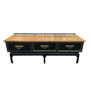 Vintage American of Martinville Black Lacquered Low Storage Chest of Drawers For Sale