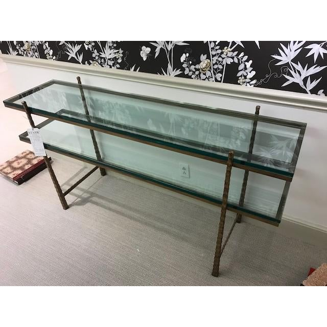 NY Showroom sample Metal and glass console table. Tuscan gold finish