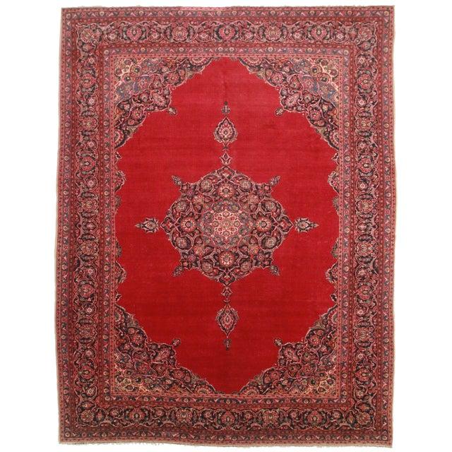 Persian Kashan Wool Rug - 10′7″ × 13′8″ For Sale