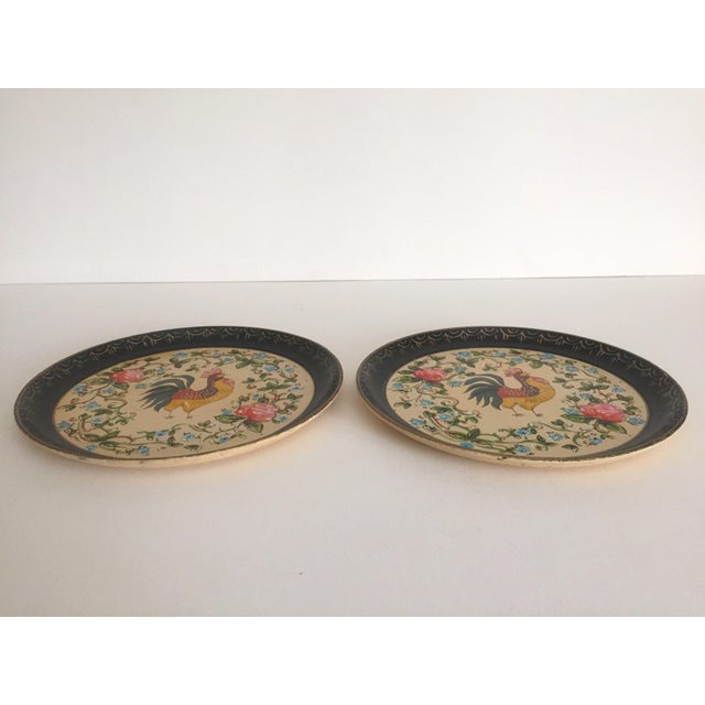 Vintage 1940's Japanese Hand Painted Rooster Decorative Plates - A Pair For Sale In New York - Image 6 of 11