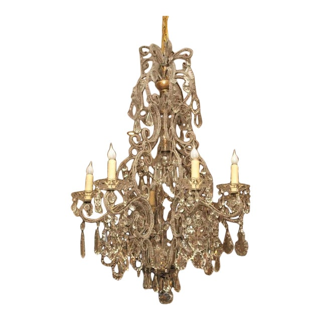 19th C Italian 6 Lite Chandelier For Sale