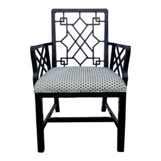 Baker Ebonized Lattice-Back Dining Chair For Sale