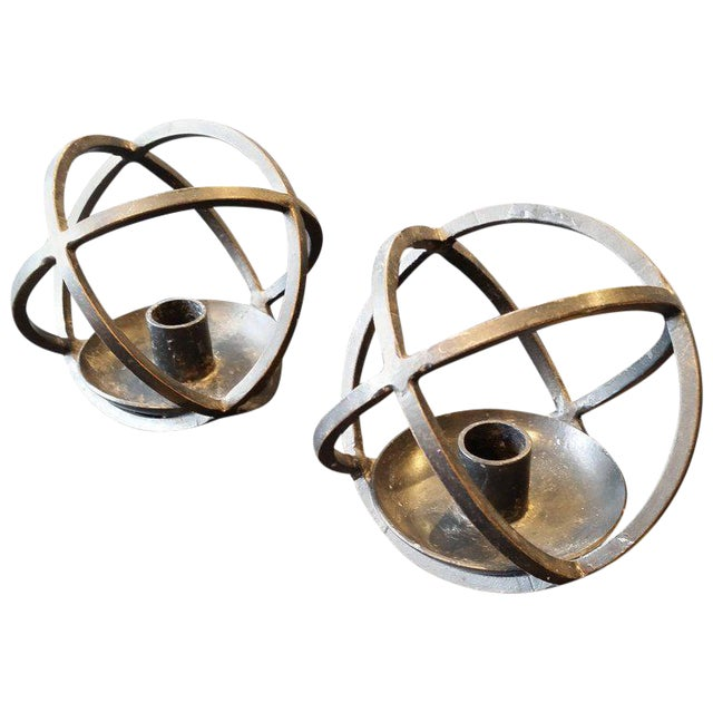 Hand-Crafted Scandinavian Modern Iron Candle Holders, Norway, 1950s - A Pair For Sale