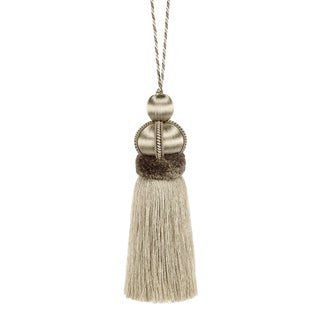 "Bespoke Trimmings Taupe Key Tassel With Cut Ruche - Tassel Height 5.75"" For Sale"