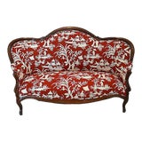 Image of Antique French Style Chinoiserie Upholstered Loveseat For Sale