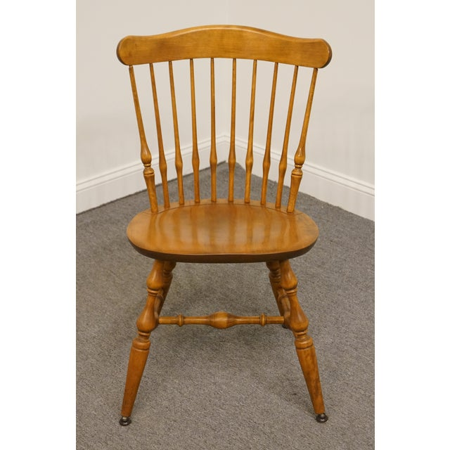 Traditional Late 20th Century Vintage Nichols & Stone Solid Maple Spindle Back Dining Side Chair For Sale - Image 3 of 10