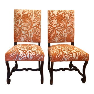 19th Century Louis XIV Style Orange Side Chairs - a Pair For Sale