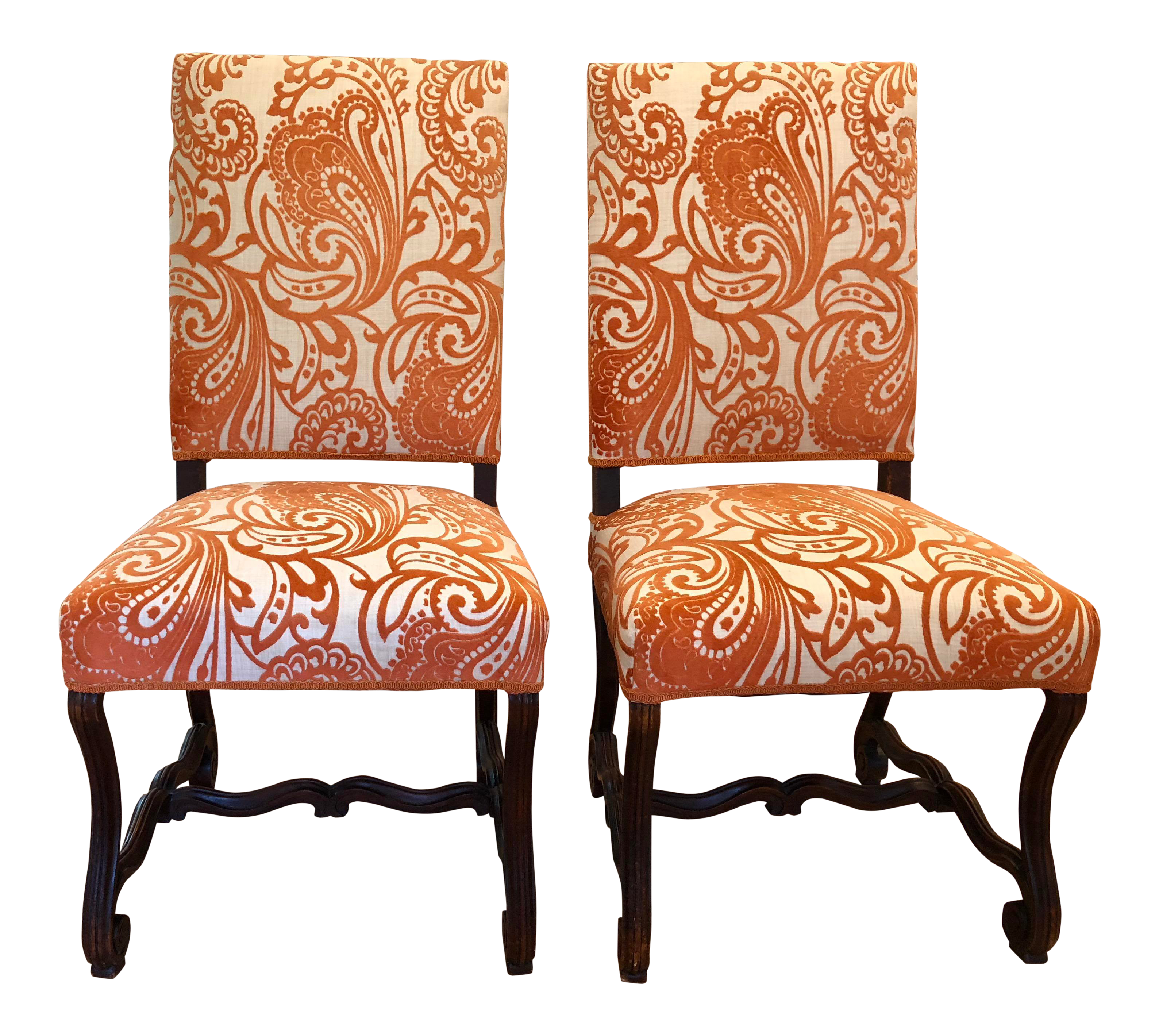 19th Century Louis XIV Style Orange Side Chairs   A Pair