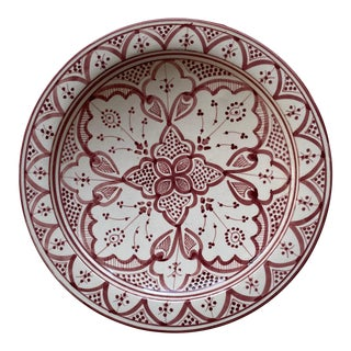 Hand Painted Large Moroccan Bowl in the Fez Style For Sale