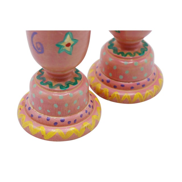 Late 20th Century Hand Painted Wooden Candlesticks - a Pair For Sale - Image 5 of 6