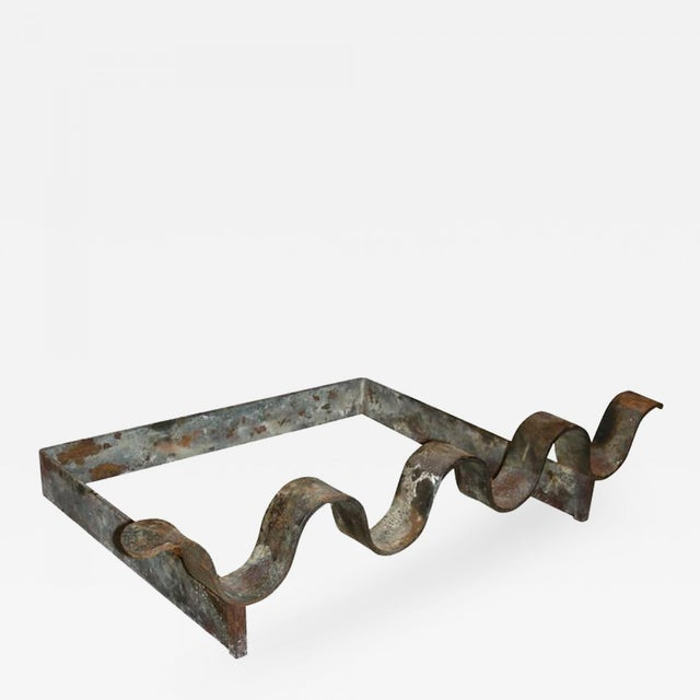 "1950s Jean Royère1950s Wrought Iron Andiron Model ""Vague"" For Sale - Image 5 of 5"