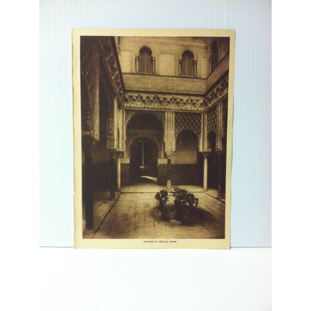 """This is an Antique The Mentor Association Print on Paper that is titled """"Alcazar of Seville, Spain"""". The Print was..."""