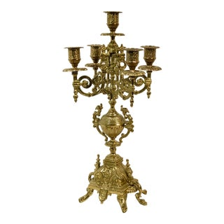 "Vintage Italian Brevettato ""Style"" Brass / Bronze Baroque Candelabra - 6.5"" For Sale"
