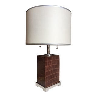 Thomas O'Brien for Aero Leather Block Lamp For Sale