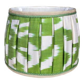 Green and White Ikat Lampshade For Sale
