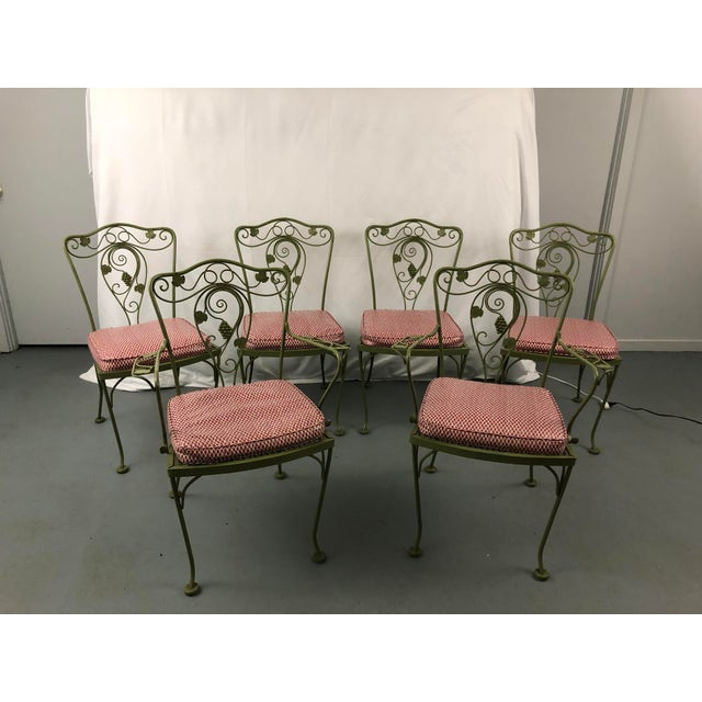 Vintage Woodard Style Wrought Iron Patio Chairs - Set of 6 For Sale - Image 13 of 13