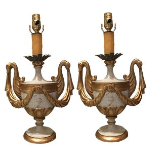 Pair of Italian Hand Carved Wood Poly Chrome Urn Lamp Bases Featuring Gilded Swan Details Pair For Sale