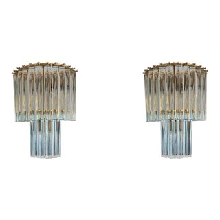 1970s Vintage Mid-Century Modernist Glass Murano Sconces - a Pair For Sale