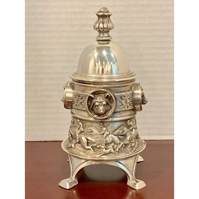 Antique English Silver Plated Equestrian Inkwell, With Dogs & Foxes For Sale In West Palm - Image 6 of 13