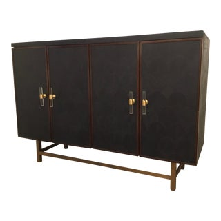 Worlds Away Modern Navy Blue Faux Shagreen Ramsey Cabinet For Sale
