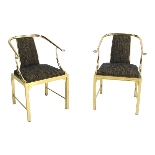 Mid-Century Modern Pair of Brass Barrel Back Chairs by Mastercraft For Sale
