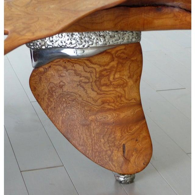 Fantasy Furniture Burl & Chrome Studio Coffee Table, Figurative Eagle & Serpent For Sale - Image 9 of 13