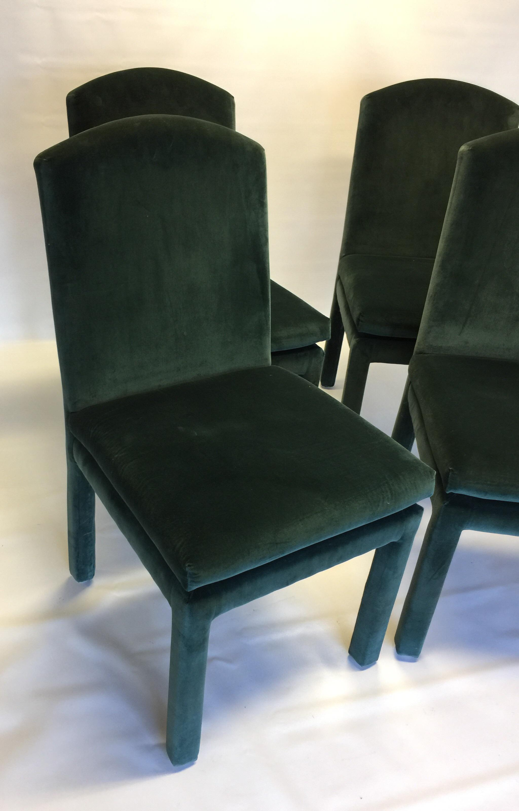 Milo Baughman Style Emerald Green Velvet/ Mohair Dining Chairs. Upholstery  Is Clean And In