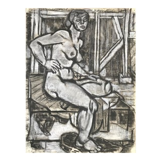 Nude in Barn John Bowers Bay Area Artist 1940s For Sale