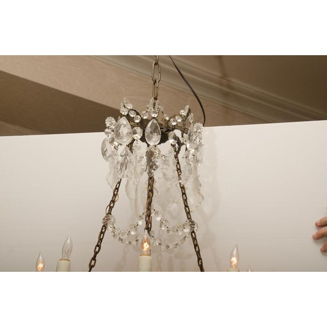 Iron and Crystal Converted Gas Light Chandelier For Sale - Image 4 of 7