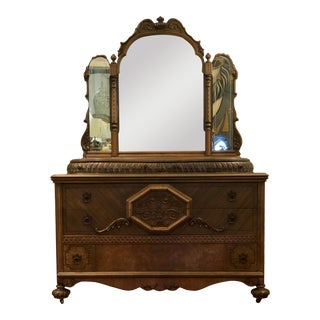 Antique French Rococo Style Console/Buffet With Tri-Mirror For Sale