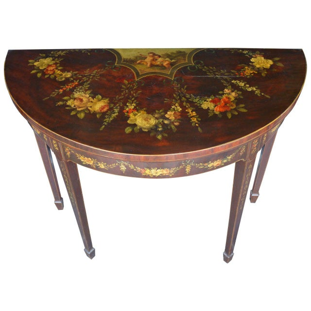 Brown George III Paint Decorated Demilune Game Table, circa 1780 For Sale - Image 8 of 8