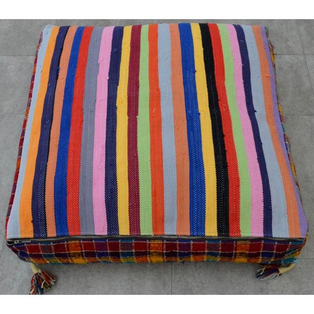 Turkish Hand Woven Kilim Floor Cushion - 30″ X 30″ - Image 5 of 10