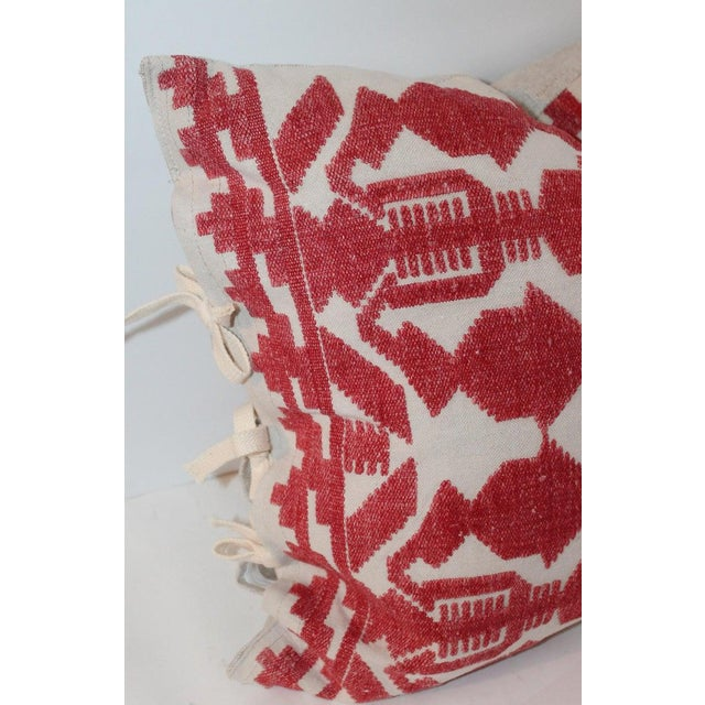 Pair of Embroidered Linen Tribal Pillows For Sale In Los Angeles - Image 6 of 7