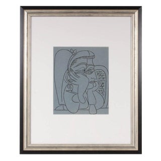 "1962 ""Woman Leaning on Her Elbows"" Color Linoleum Cut Drawing by Pablo Picasso For Sale"