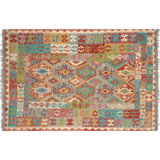 "Nalbandian - Contemporary Afghan Maimana Kilim - 4'6"" X 6'8"" For Sale"