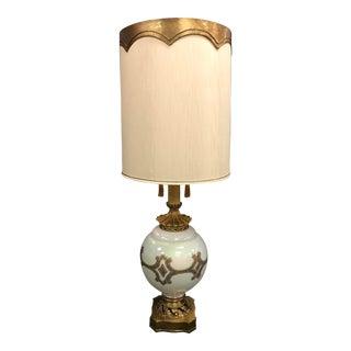 Large Regency Opal Glass Lamp For Sale